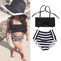 Lovely Baby Kids Girl Bikini Set Swimwear Striped Swimming Bathing Suit Swimsuit