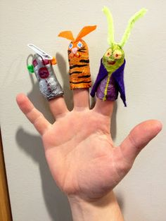 use plaster wrap to make finger puppets!