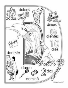 """D"" coloring page Name Activities, Alphabet Activities, Spanish Teacher, Spanish Classroom, Spanish Language Learning, Teaching Spanish, Speech Language Therapy, Speech And Language, Spanish Anchor Charts"