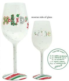 "Lolita Holiday Wine Wine Glass by Santa Barbara Design Studio. $35.00. 9"". Glass. Lolita Holiday Wine Wine Glass Love My Wine hand-painted glasses feature a delicious wine cocktail, Lolita's trademark ""recipe on the bottom"" design. 15 oz glass comes in a Lolita signature gift box. Lolita glasses are NOT dishwasher safe; the harsh chemicals and high temperatures can damage the paint. We recommend gentle hand washing to clean your Lolita glassware. © Lolita"