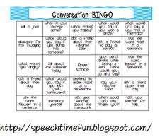 Speech Time Fun: Pragmatic Skills Series: Topic Initiation: Conversation BINGO!