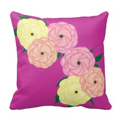 Whimsical Roses Stylish Floral Print throw pillow/cushions in peach, pink and yellow, stylish home decor