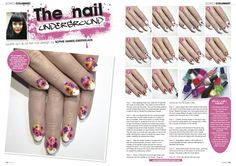 Watercolour floral nail tutorial…The Nail Underground, Scratch Magazine, March 2014