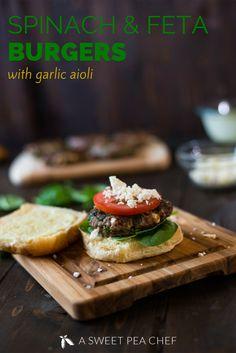 Spinach and Feta Burgers with Garlic Aioli • A Sweet Pea Chef   Full recipe