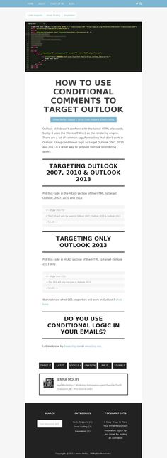 Learn how to use conditional logic to target Outlook 2010 and 2013 to get past Outlook's rendering quirks. Html Email Design, Responsive Email, Problem And Solution, Email Marketing, Being Used, Universe, Coding, How To Get, Learning