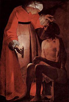44. Job con su mujer. Georges de la Tour - 1630. Mientras en el tenebrismo italiano el foco de luz suele estar fuera de los límites del lienzo, en las obras de La Tour sitúa el foco dentro de la composición. En algunas la candela es perfectamente visible como en este caso.