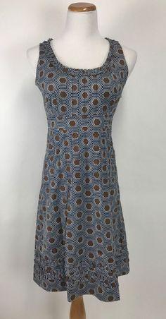 Tory Burch Geometric Ruffle Cotton Stretch Sleeveless Dress Size 6  #ToryBurch