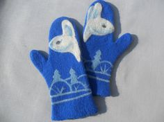 Felted mittens  Blue mittens Warm mittens Wool by ExclusiveDaY