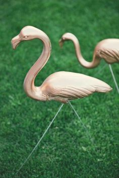 gold flamingo - I can't think of a party where a painted flamingo is not appropriate