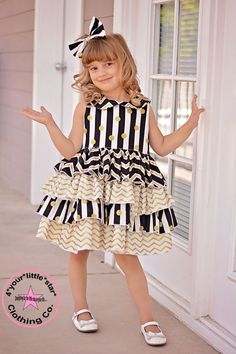 Diamonds are a Girls Best Friend~Collection Chevron Gold, Black and White Blanche peter pan collar Ruffle Dress Sizes 6 mos to Size 8 by 4yourlittlestar on Etsy