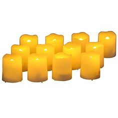 Pansdore Set of 12 PCS Melted Edge Votive Flameless LED Candles with Timer Function and Remote Control. Tea light Candles. Mini Flickering Unscented Candles lights. Pansdore LED Candles are ivory white, shining with yellow light. They provide realistic flickering amber light which is ideal for setting up the mood. Pansdore Flameless Candles are safe and hazard free. Remote controller has 8 buttons. Timer function can set up 4 hours or 8 hours operated. 4 Modes are Candle (fake effect)…