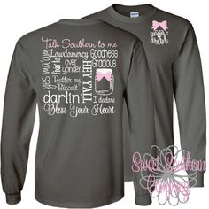 Personalized Long sleeve Tshirt with Small Elegant Front Monogram - Talk Southern To Me by SweetSouthernCompany on Etsy https://www.etsy.com/listing/215912549/personalized-long-sleeve-tshirt-with