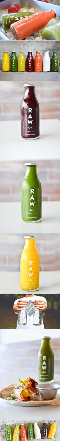 Raw Co. Juicery & Food. This will grabs the attention of every passerby. #packaging #design