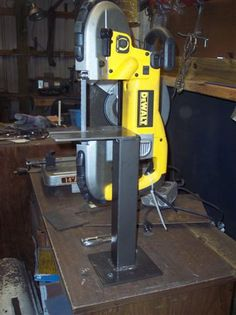 dewalt portable bandsaw stand - Tools and Tool Making - Bladesmith& Forum Board Garage Tools, Garage Shop, Garage Workshop, Welding Shop, Welding Table, Diy Welding, Metal Welding, Metal Working Tools, Metal Tools