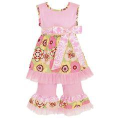 100% cotton pink floral outfit www.facebook.com/periwinkleprincessboutique