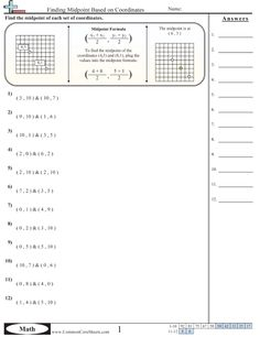 Grid Worksheets - Finding Midpoint Based on Coordinates worksheet Map Activities, Compass Rose, Worksheets, Grid, Math, Blog, Mathematics, Literacy Centers, Math Resources