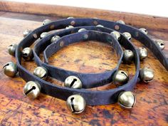 Vintage Sleigh Bells, Vintage Christmas Decor, 29 Bells, Brass and Leather, Holiday Decor on Etsy, $225.00