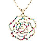 Austrian Crystal Rose Come Rose Go Ball Neckl... – USD $ 18.99