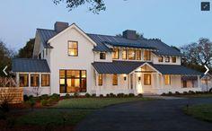 .Modern farmhouse, b/w exterior. Love the black window frames