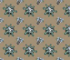 Ilex and pine cones on mushroom medium fabric by colorofmagic on Spoonflower - custom fabric Fabric Shop, Custom Fabric, Surface Pattern, Pine Cones, Spoonflower, Stuffed Mushrooms, Diy Projects, Medium, Wallpaper
