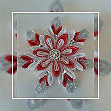 Dekorácie - vianočná vločka kanzashi - 7347834_