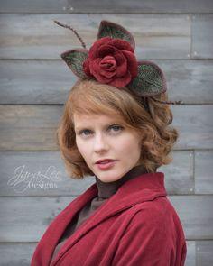 Velvet Rose & Tweed Fascinator Hat by Jaya Lee Designs  #Rustic #headpiece #RedRose #tweed #headdress #fall #fashion