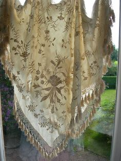 victorian piano shawl | Superb Antique Victorian Silk Hand Embroidered Canton Piano Shawl ...