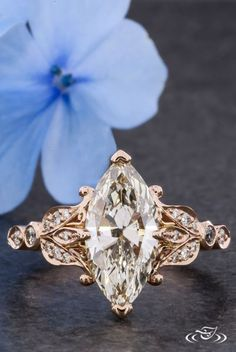 Floral Marquise Diamond Engagement Ring. Green Lake Jewelry 119645