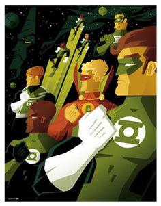 Tom Whalen Green Lantern Corps  Such a cool print!