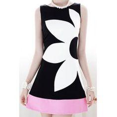Stylish Round Collar Sleeveless Color Block Dress For Women