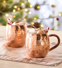 Hand Hammered Solid Copper Mugs, Set of 2 | Plow & Hearth