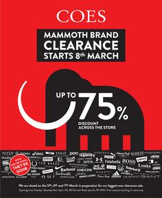 campaign event Coes Mammoth Clearance Event - campaign WHAT associates Ltd 8th Of March, Fred Perry, Barbour, Superdry, Asics