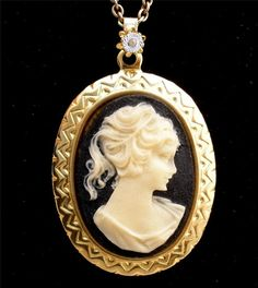 "Vintage Avon Celluloid Cameo Necklace Rhinestone 24"" Long Signed Gold Black"