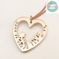 Personalized Necklace Gold Love Heart Names by CoorabellCrafts Personalized Gold Necklace, Heart Pendants, Love Stamps, Hand Stamped Jewelry, Felt Hearts, Gifts For Mum, Christmas 2016, Heart Jewelry, Etsy Jewelry