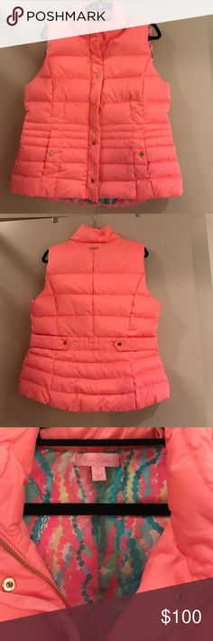 Lilly Pulitzer Isabelle Vest Color: Cheeky Melon, inside print: dripping in jewels - BRAND NWOT, never worn! 90% down, 10% feather filling. Zip and snap closures. BEAUTIFUL VEST that will brighten any cold day 💕 Lilly Pulitzer Jackets & Coats