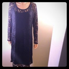 Plus Size,Floral Lace Sheath Dress Plus size floral lace sheath dress. Dress has lace see through sleeves, under slip and measures 3ft from top to bottom. Dress is beautiful and light weight material. Dress runs one size small. Love Squared Dresses Midi
