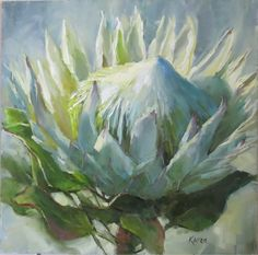 KAREN'S CANVAS Protea Art, Protea Flower, Flower Oil, African Art Paintings, Oil Paintings, Blue Flower Wallpaper, Acrylic Flowers, Art Flowers, Floral Artwork