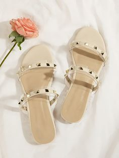 To find out about the Studded Decor Open Toe Sliders at SHEIN, part of our latest Slippers ready to shop online today! Nude Sandals, Studded Sandals, Flat Sandals, Women's Shoes Sandals, Leather Sandals, Dress Shoes, Flats, Cream And Gold, Shoes Online