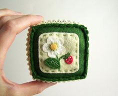 Embroidered Wild Strawberry Pincushion by SeaPinks on Etsy #craft #handmade #embroidery #summer #berry #pincushion