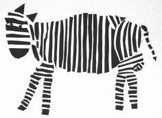 Zebra. Mit Bleistift vorzeichnen, dann Streifen kleben.