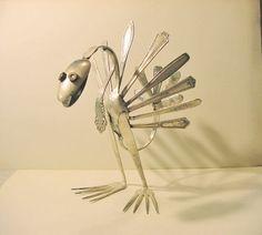 Silverware Metal Turkey Art Sculpture by R. Fork Art, Spoon Art, Metal Sculpture Artists, Steel Sculpture, Turkey Art, Silverware Art, Welding Art Projects, Metal Welding, Arc Welding