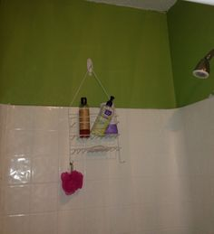 "Hang your shower caddy on an opposite wall to keep from blocking the shower head! I used a Command hook. Works great & frees up more ""room"" in front of & behind me when in the shower!! Loved trying this re-pin"