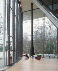 #cheminee filiofocus géant foyer à gaz ouvert conçu pour #NormanFoster #design contemporain #gaz #confort #insert