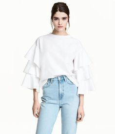 Top with Tiered Sleeves | White | Women | H&M US
