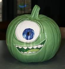 mike pumpkin paint; monster's inc.