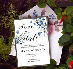 Save the Date Template Blue Floral Save the Date Card Save