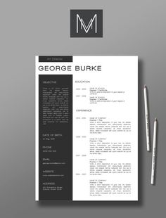 Professional resume template and cover letter | Resume Template 3pack  | Microsoft word resume | CV design | 'Burke Template""