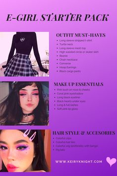 E-girl Starter Pack - How to be an E-girl – Thinking about giving the E-girl look a try? Here's my small guide to E-g - Grunge Outfits, Edgy Outfits, Mode Outfits, Looks Dark, Looks Cool, Grunge Look, Grunge Girl, School Looks, Aesthetic Grunge Outfit