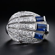 Art Deco Diamond and Sapphire Cocktail Ring