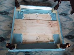 Quirks and Progress: How to Make an Ottoman Diy Storage Ottoman Coffee Table, How To Make Ottoman, Floating Mantel, Wood Sofa, Handmade Furniture, Slipcovers, Plant Hanger, Decorating Tips, Projects To Try